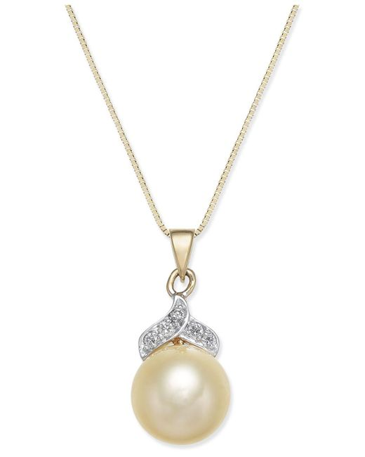 Macy's - Metallic Cultured Golden South Sea Pearl (9mm) And Diamond Accent Pendant Necklace In 14k Gold - Lyst