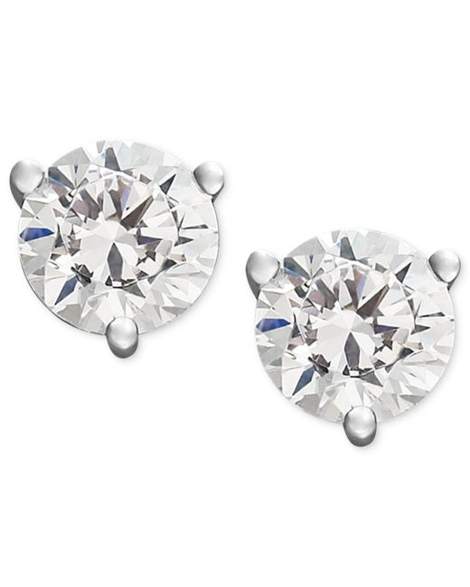 Macy's - Metallic Near Colorless Certified Diamond Stud Earrings In 18k White Or Yellow Gold (1/2 Ct. T.w.) - Lyst