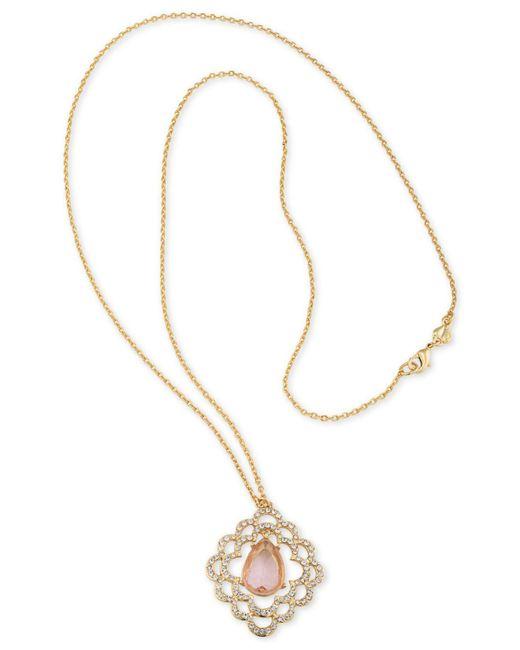 Carolee - Metallic Gold-tone Pavé & Pink Stone Scalloped Pendant Necklaces - Lyst