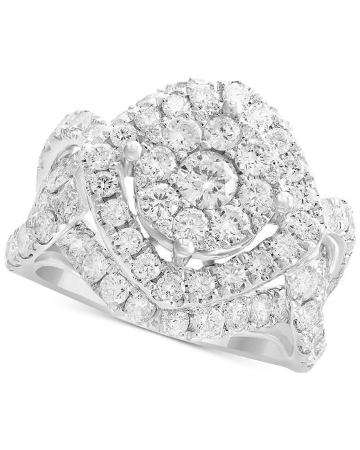 Effy Collection - Metallic Diamond Cluster Ring (3-1/5 Ct. T.w.) In 14k White Gold - Lyst