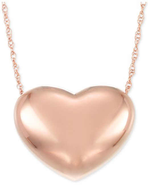 Signature Gold - Metallic Puffed Heart Pendant Necklace In 14k Gold Or 14k Rose Gold - Lyst