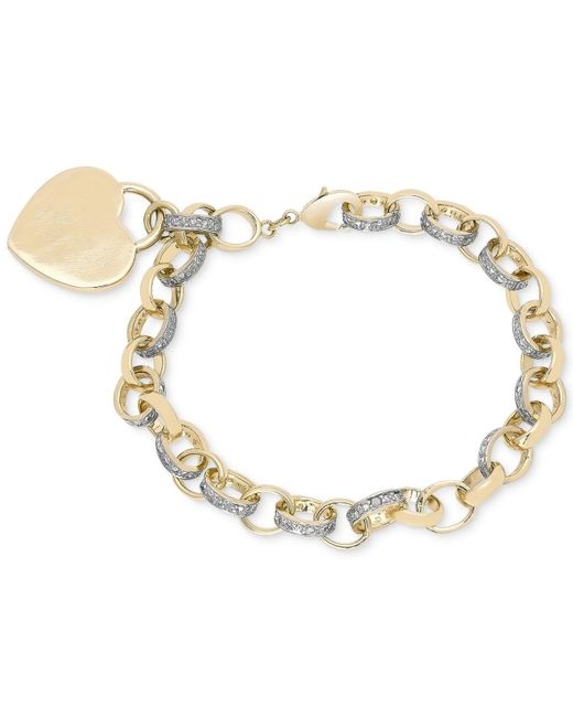 Macy's - Metallic Diamond Accent Heart Tag Chain Bracelet In 18k Yellow And Rose Gold Over Sterling Silver-plated Brass - Lyst