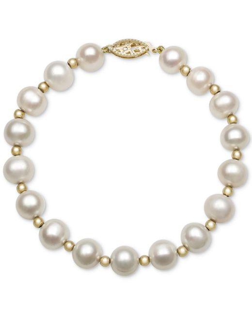 Macy's - White Cultured Freshwater Pearl Bracelet In 14k Gold (7-1/2mm) - Lyst