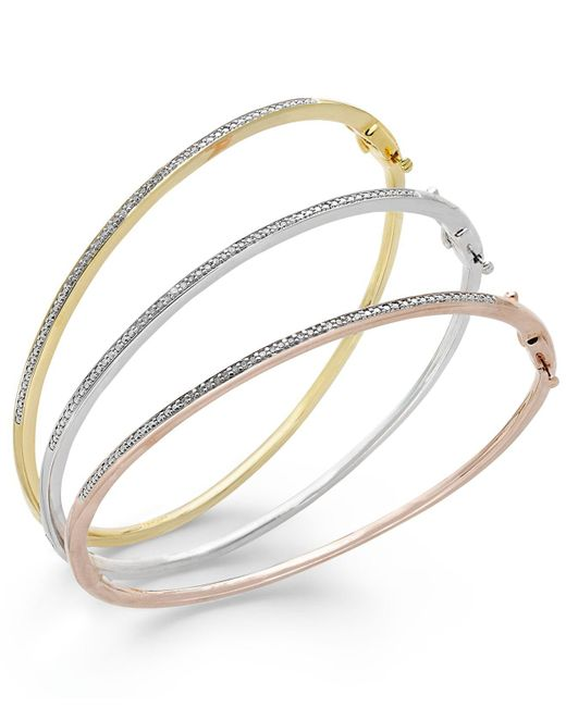 Macy's - Metallic Diamond Bangle Bracelet Trio In 14k Gold Over Sterling Silver And Sterling Silver (1/4 Ct. T.w.) - Lyst