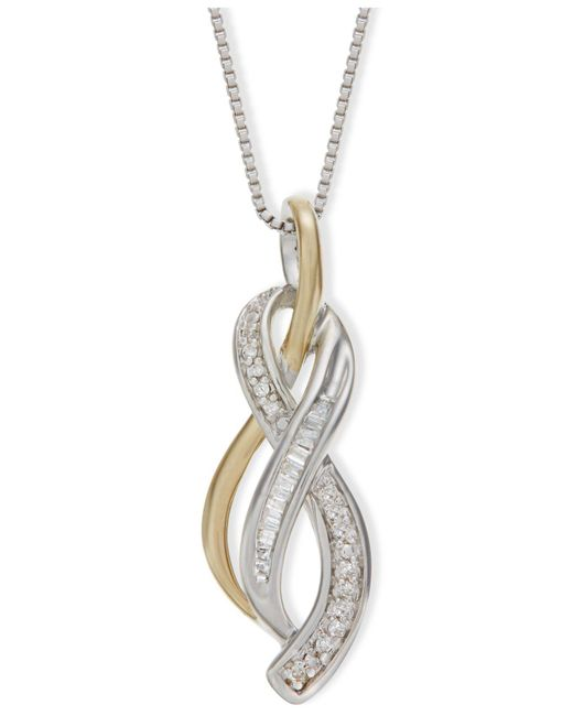 Macy's - Metallic Diamond Figure-8 Pendant Necklace (1/10 Ct. T.w.) In 14k Gold Vermeil And Sterling Silver - Lyst
