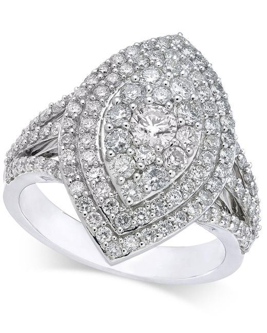 Macy's - Metallic Diamond Marquise-style Cluster Ring (1-5/8 Ct. T.w.) In 14k White Gold - Lyst