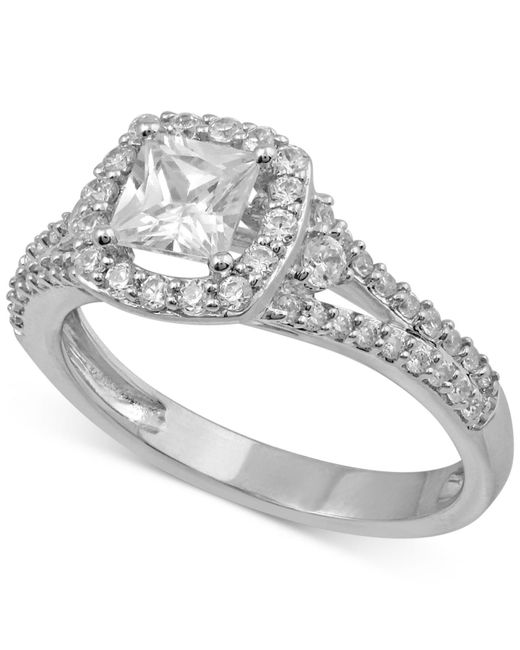 Macy's | Metallic Diamond Halo Engagement Ring (1 Ct. T.w.) In 14k White Gold | Lyst