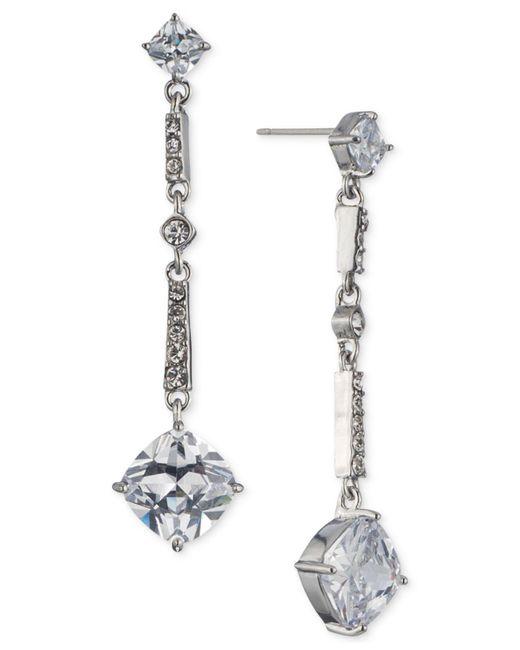 Carolee   Metallic Silver-tone Cubic Zirconia Linear Drop Earrings   Lyst