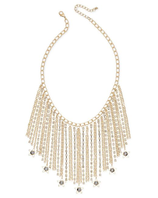 INC International Concepts - Metallic Gold-tone Hematite Stone Fringe Statement Necklace - Lyst