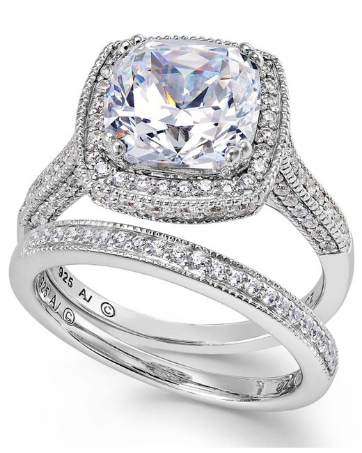 Arabella - Metallic Sterling Silver Ring Set, Swarovski Zirconia Bridal Ring And Band Set (7-5/8 Ct. T.w.) - Lyst