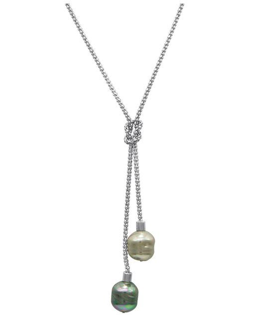 Majorica - Metallic Necklace, Organic Man-made Baroque Pearl Love Knot Lariat - Lyst