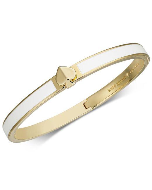 Kate Spade White Gold-tone & Colored Enamel Spade Bangle Bracelet