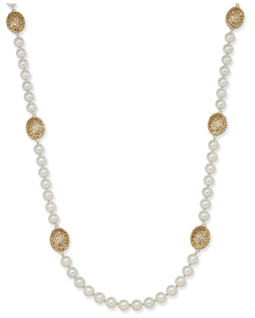 Charter Club   Metallic Large Bead & Imitation Pearl Long Necklace   Lyst