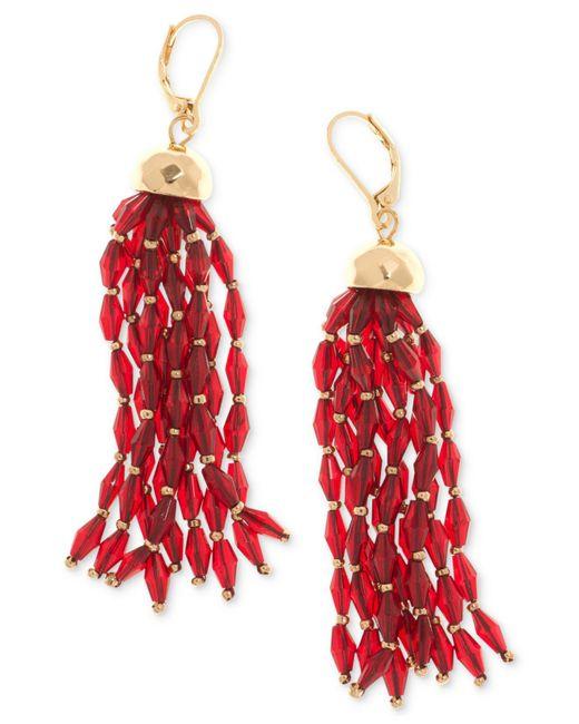 Nine West | Red Gold-tone Beaded Tassel Drop Earrings | Lyst