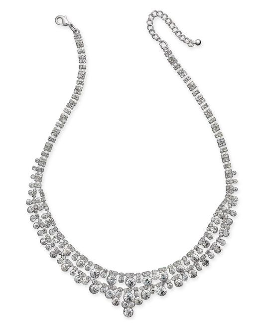 Charter Club - Metallic Silver-tone Multi-crystal Statement Necklace - Lyst