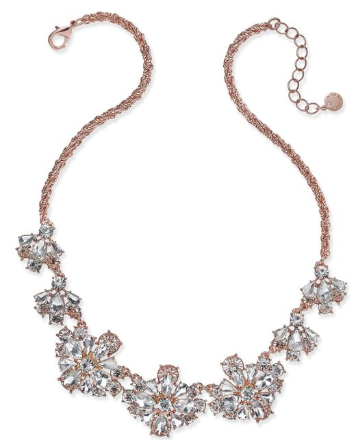 Charter Club | Metallic Rose Gold-tone Floral Crystal Necklace | Lyst