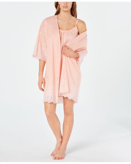 Charter Club Pink Embroidered Woven Cotton Chemise Nightgown And Wrap Robe Set, Created For Macy's