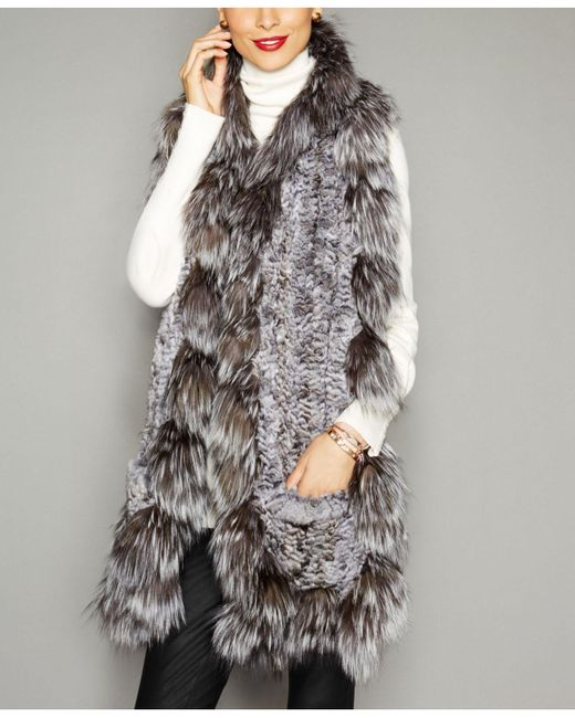 The Fur Vault - Natural Fox-fur-trim Knitted Chinchilla Fur Scarf - Lyst
