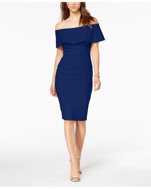 ed66cba7 Xscape - Blue X By Off-the-shoulder Sheath Petite Dress - Lyst ...