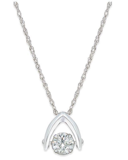 Macy's - Metallic Diamond Solitaire Wishbone Pendant Necklace (5/8 Ct. T.w.) In 14k White Gold - Lyst