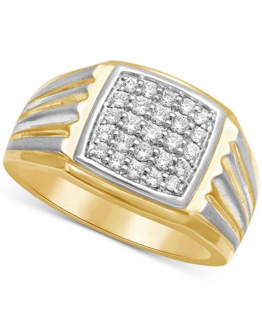 Macy's - Metallic Men's Diamond Two-tone Ring (1/2 Ct. T.w.) In 10k Gold & White Rhodium Plated Over 10k Gold - Lyst