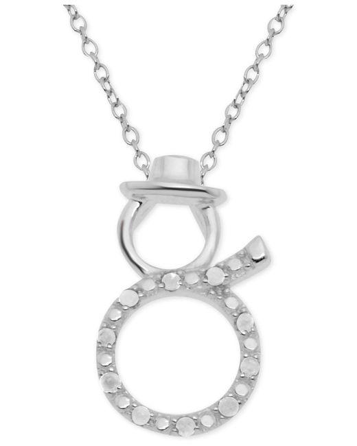 "Macy's - Metallic Diamond Snowman 18"" Pendant Necklace (1/10 Ct. T.w.) In Sterling Silver - Lyst"