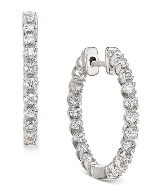 Macy's | Metallic Diamond In-and-out Hoop Earrings (1/2 Ct. T.w.) In 14k White Gold | Lyst
