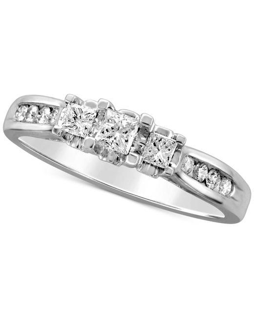 Macy's - Metallic Diamond Princess Trio Engagement Ring (1/2 Ct. T.w.) In 14k White Gold - Lyst