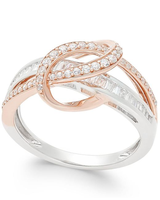 Macy's - Multicolor Diamond Two-tone Swirl Ring (1/2 Ct. T.w.) In 14k Rose And White Gold - Lyst