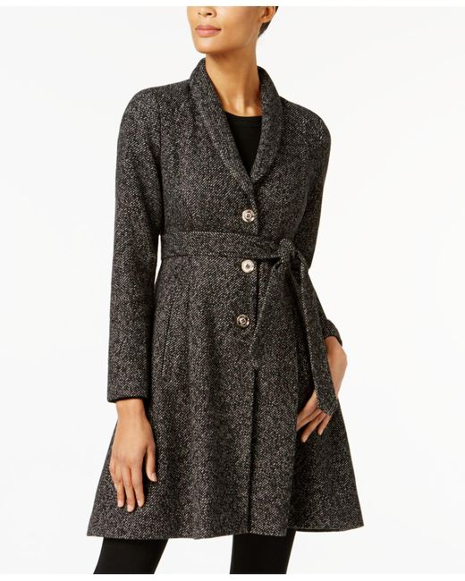 Ivanka Trump | Black Shawl-collar Skirted Walker Coat | Lyst
