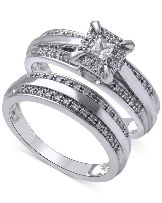Beautiful Beginnings   Metallic Diamond Halo Ring Set In 14k White Gold (1/3 Ct. T.w.)   Lyst