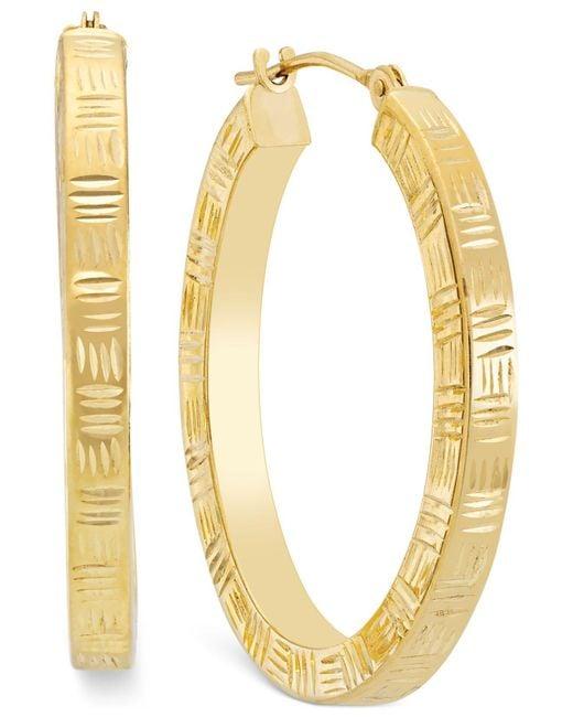 Macy's - Metallic Etched Hoop Earrings In 10k Gold - Lyst