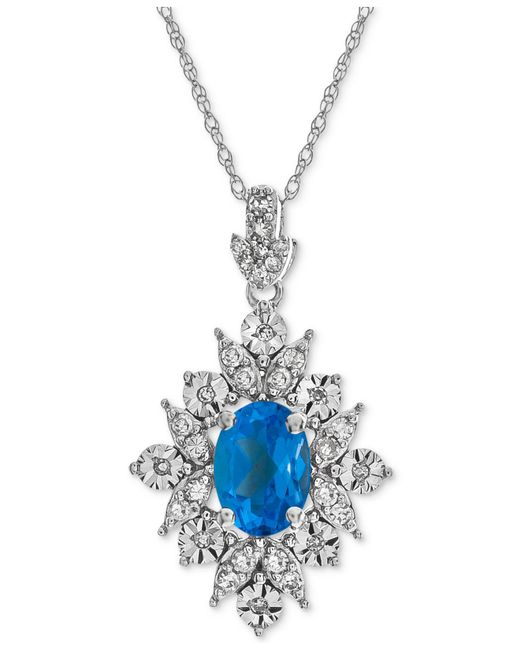 Macy's - Blue Topaz (1 Ct. T.w.) & Diamond (1/5 Ct. T.w.) Pendant Necklace In 14k White Gold - Lyst