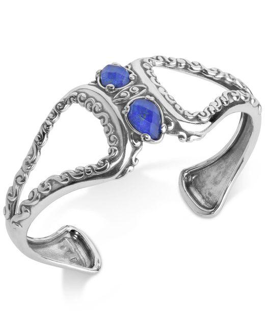 Carolyn Pollack - Metallic Lapis Lazuli/rock Quartz Openwork Statement Cuff Bracelet (4-1/5 Ct. T.w.) In Sterling Silver - Lyst
