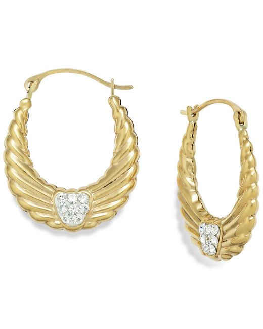 Macy's | Metallic Crystal Wing Hoop Earrings In 10k Gold | Lyst