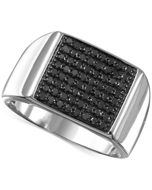 Macy's - Men's Black Diamond (3/4 Ct. T.w.) Ring In Sterling Silver - Lyst