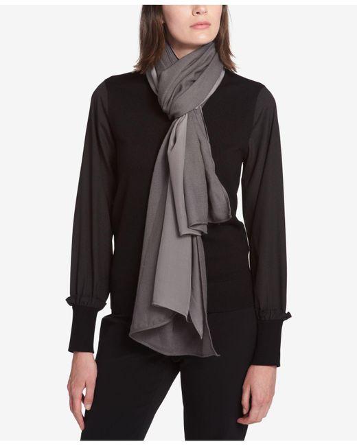 DKNY - Gray Mixed Texture Knit Wrap - Lyst