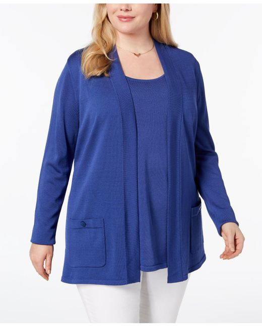 Anne Klein - Blue Plus Size 2-pc. Sweater Set, Created For Macy's - Lyst