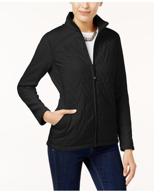 Style & Co. | Black Petite Quilted Fleece Jacket | Lyst