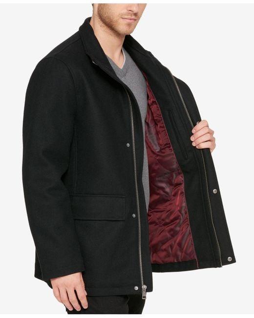 Cole Haan - Black Men's Hidden-placket Wool Coat for Men - Lyst