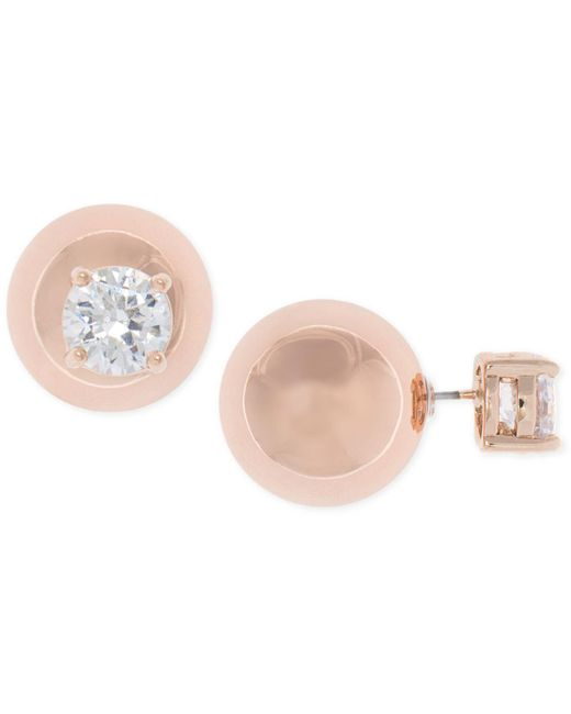 Anne Klein - Metallic Rose Gold-tone Crystal And Ball Front Back Earrings - Lyst