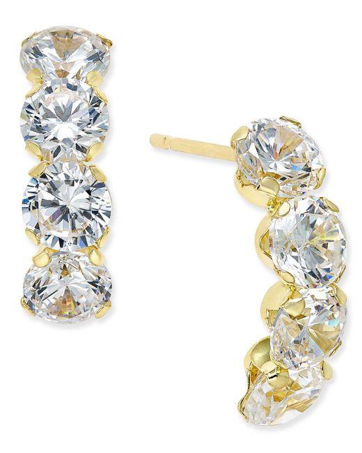 Macy's - Metallic Cubic Zirconia Curved Drop Earrings In 10k Gold - Lyst