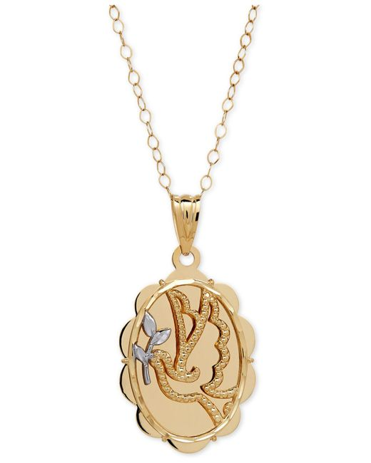 "Macy's | Metallic Two-tone Dove ""let Peace Guide Your Heart"" Pendant Necklace In 10k Gold 