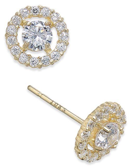 Macy's - Metallic Flower Cluster Cubic Zirconia Stud Earrings In 10k Gold - Lyst