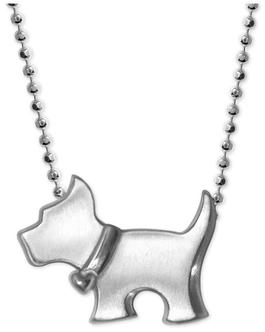 Alex Woo | Metallic Scotty Dog Pendant Necklace In Sterling Silver | Lyst