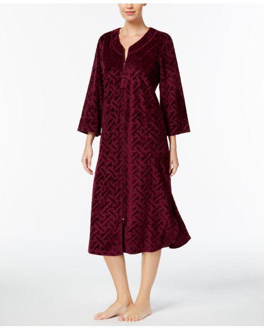 Miss Elaine | Red Embossed-velour Robe | Lyst