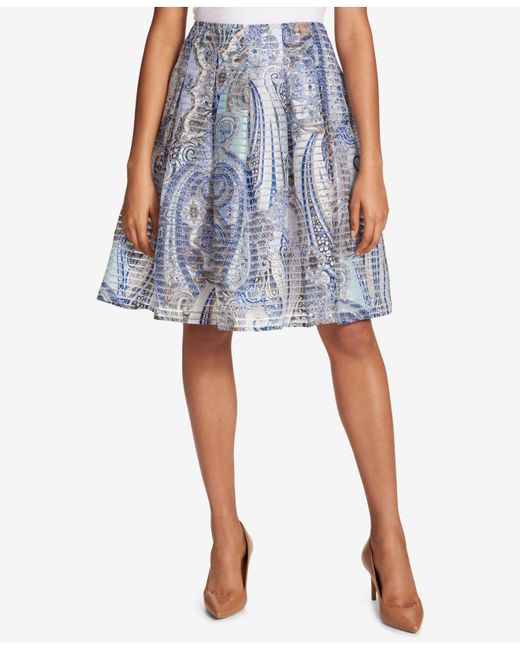 Tommy Hilfiger - Blue Pleated Paisley-print Skirt - Lyst
