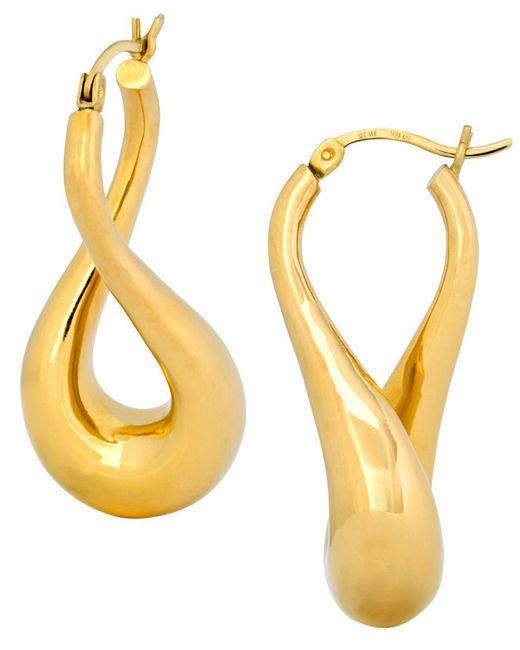 Signature Gold | Metallic Twist Hoop Earrings In 14k Gold | Lyst