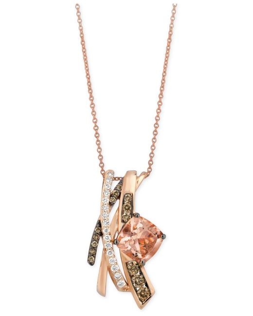 Le Vian - Pink Morganite (1-3/4 Ct. T.w.) And Diamond (5/8 Ct. T.w.) Pendant Necklace In 14k Rose Gold - Lyst
