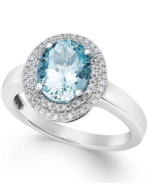 Macy's | Metallic Aquamarine (1-1/2 Ct. T.w.) And Diamond (1/5 Ct. T.w.) Ring In 14k White Gold | Lyst